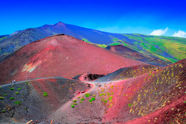 The colors of the Etna volcano View of the colored slopes of the volcano Etna, Italy Europe sicily stock pictures, royalty-free photos & images