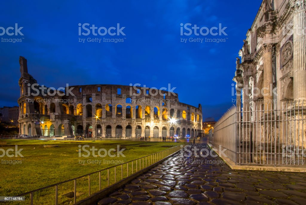 The Colosseum and The Arch of Constantine in Rome stock photo