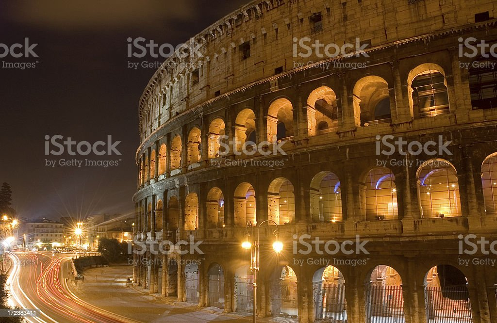 The Colosseum at night royalty-free stock photo