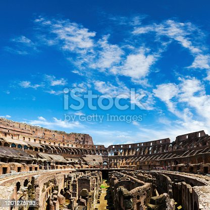 The Colosseum in the city of Rome the capital of Italy.