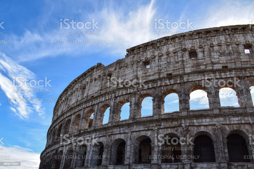 The Colosseum or Coliseum, also known as the Flavian Amphitheatre (Latin: Amphitheatrum Flavium; Italian: Anfiteatro Flavio or Colosseo), is an oval amphitheatre in the centre of the city of Rome, Italy. Built of concrete and sand, it is the largest amphi stock photo
