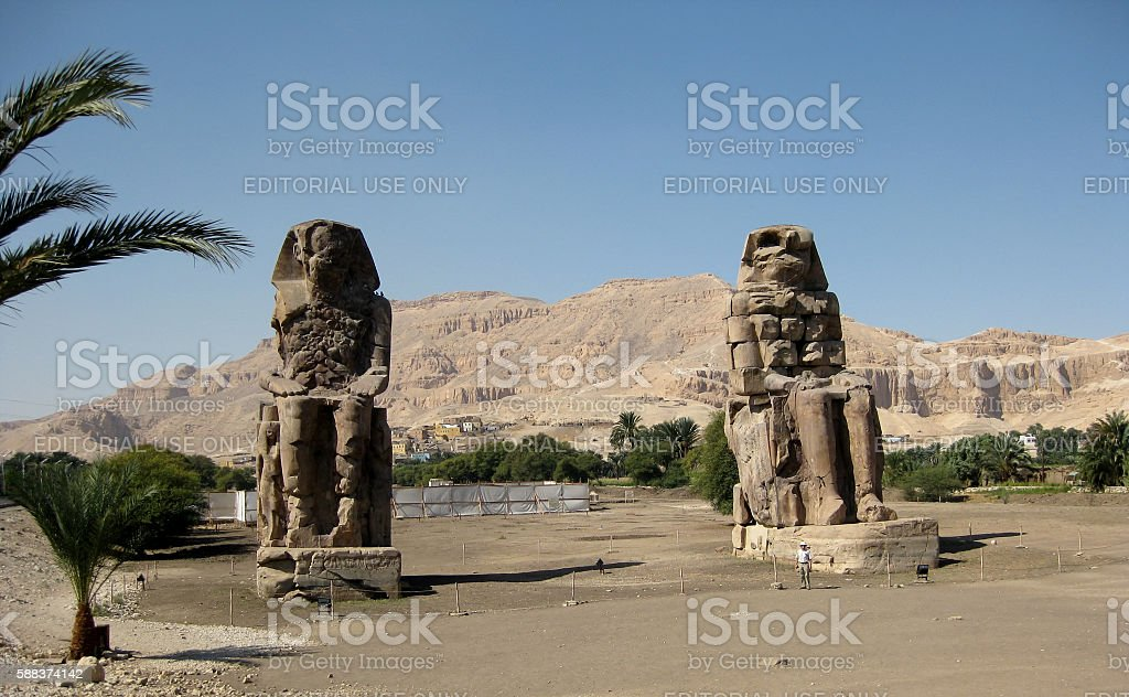 The Colossi of Memnon in Luxor, Egypt stock photo