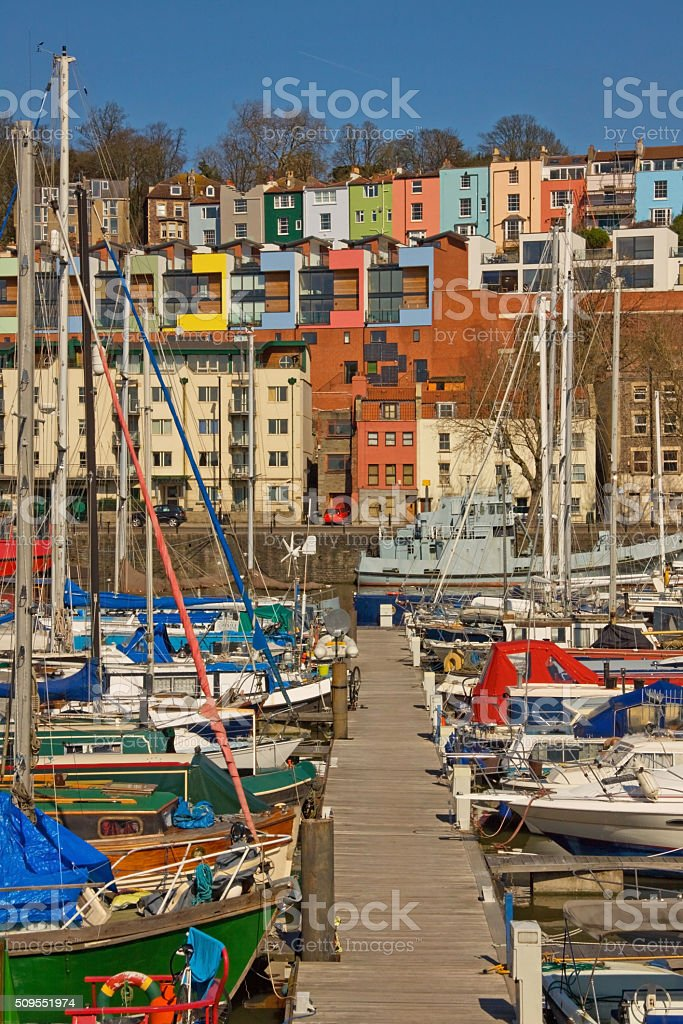 The colourful harbourside housing at Bristol UK in winter sunlight stock photo