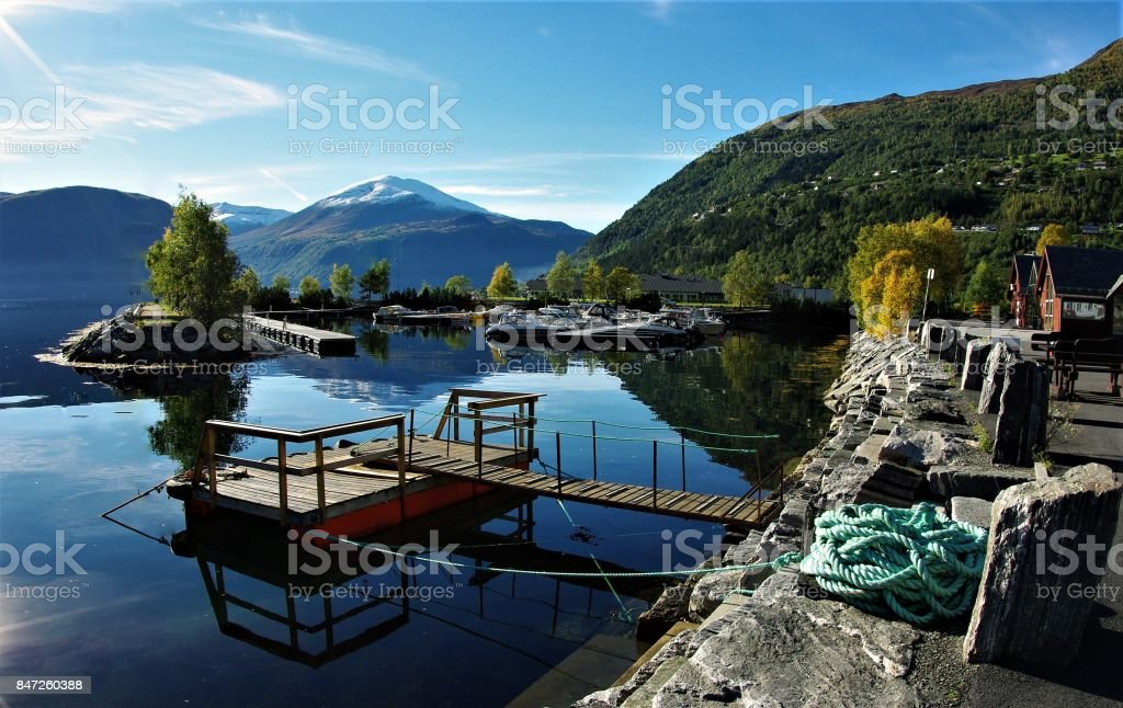 The Colourful Natural Beauty of Valldal, Western Norway in the Autumn stock photo
