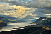 This is the Columbia Gorge as seen from Crown Point in the Columbia Gorge, Oregon.  The picture was taken in Winter.