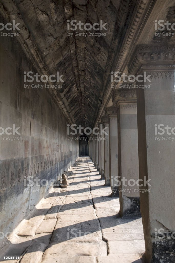 The column of the temple with sunshine stock photo