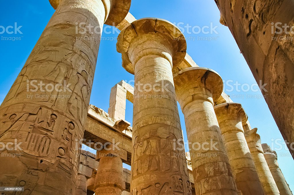 The columns in Karnak Temple, Egypt stock photo