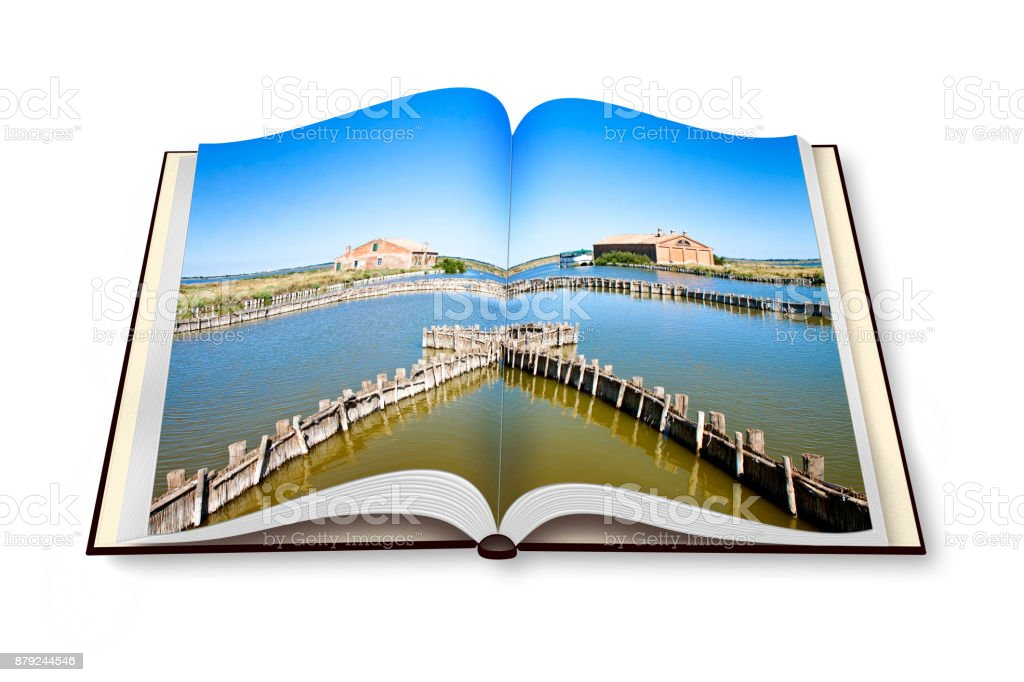 The Comacchio valleys (Italy), italian UNESCO protected area, are known worldwide for eel fishing - photobook concept image - I'm the copyright owner of the images used in this 3D render. stock photo