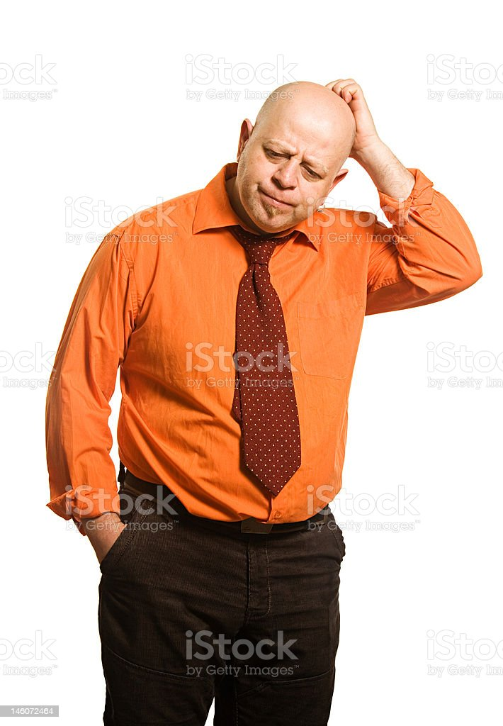 The comical fat man in an orange shirt royalty-free stock photo