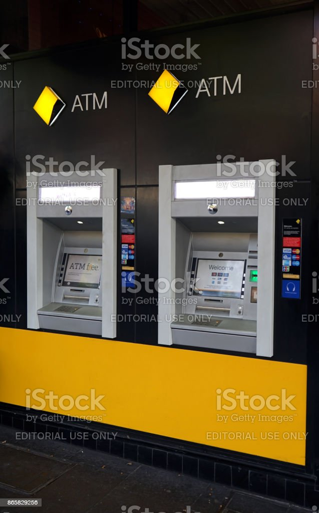The Commonwealth Bank of Australia, one of the 'Big Four', has branches and ATM's across the globe, including this one in Bourke street stock photo
