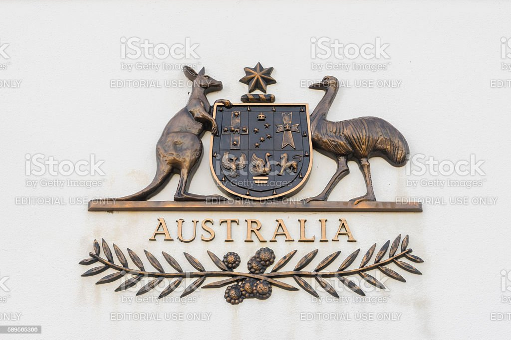 The Commonwealth Coat of Arms in bronze stock photo