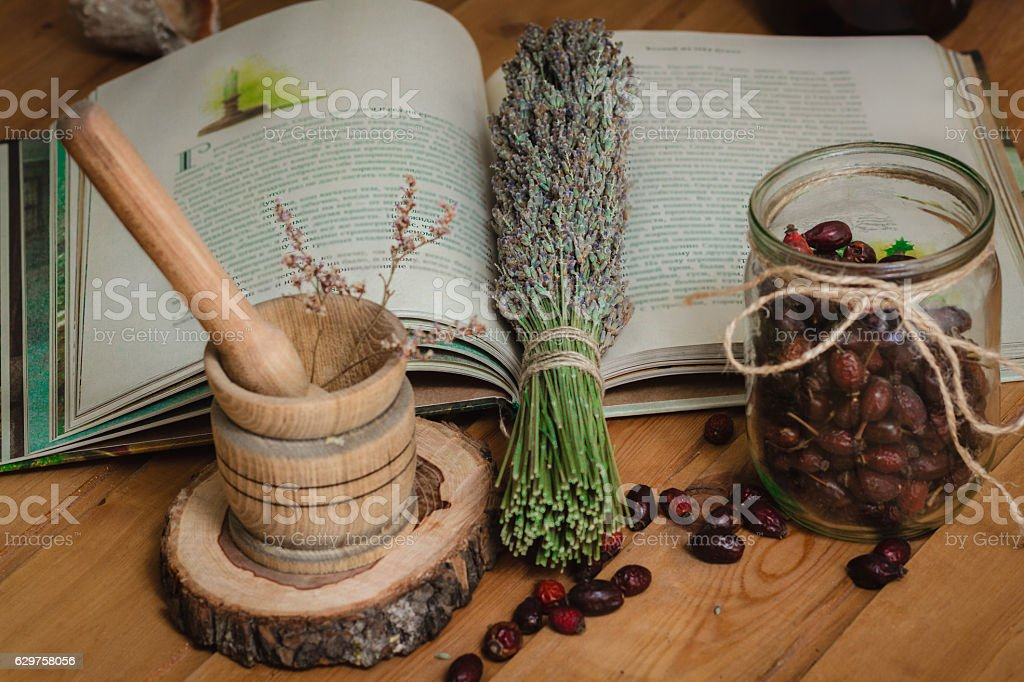 The composition from tools of natural healing herbs stock photo