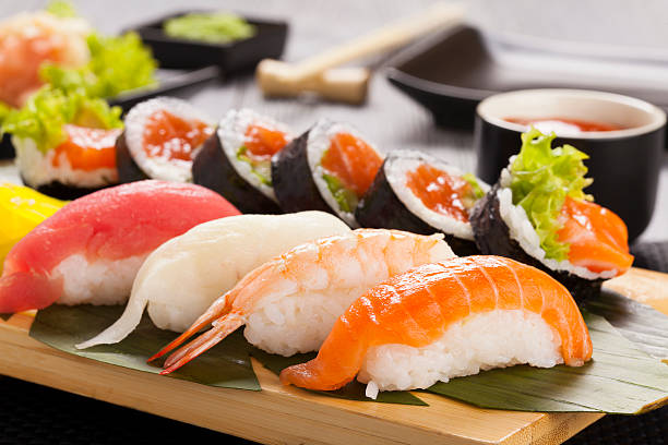 The composition of nigiri sushi stock photo