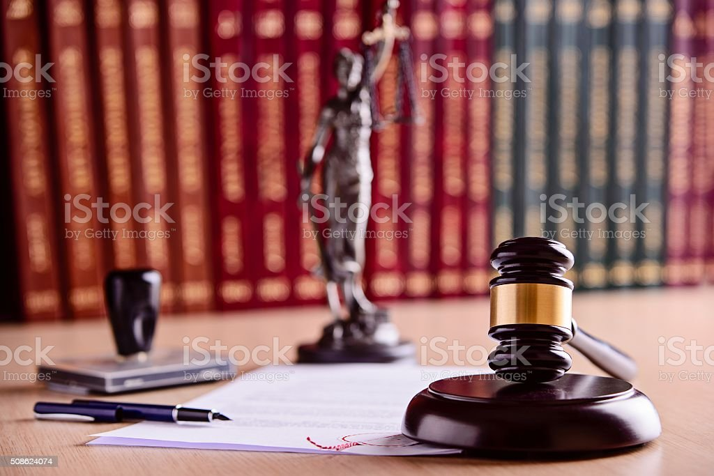 The composition of the gavel, statuette of Themis stock photo
