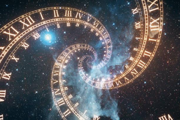 la composición del espacio de tiempo, el vuelo en el espacio en una espiral de ilustración 3d de relojes romanos - e=mc2 fotografías e imágenes de stock