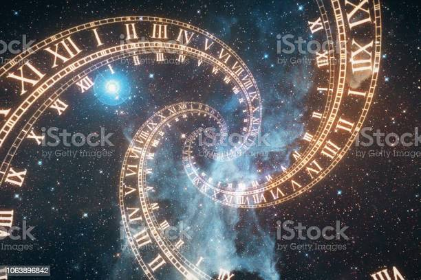 Photo of The composition of the space of time, the flight in space in a spiral of Roman clocks 3d illustration