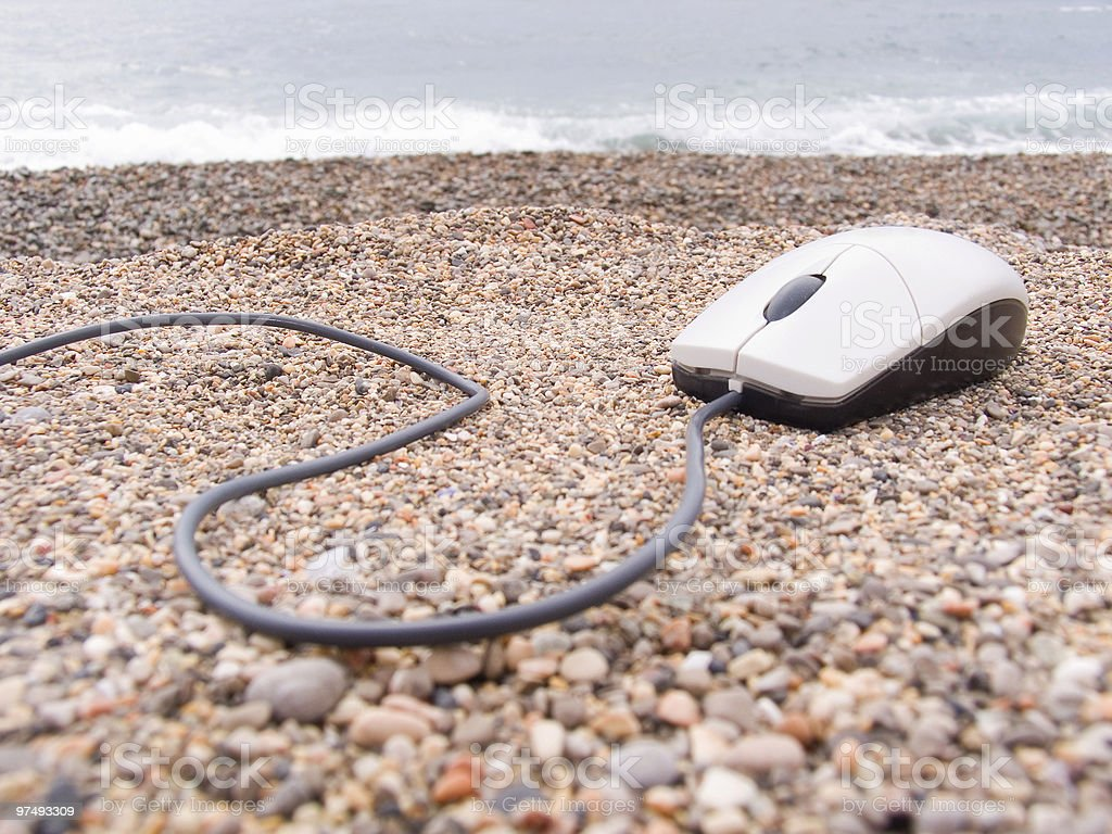 The computer mouse on a sea coast royalty-free stock photo