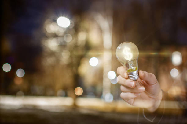 The concept is the financial efficiency of innovative idea. stock photo