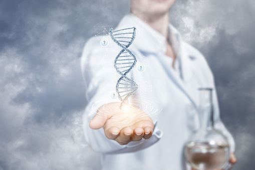istock The concept is the innovations in DNA researches. 1073887510