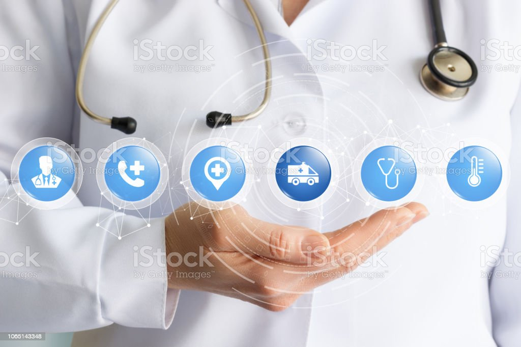 The concept is the interaction of different medical trends. stock photo