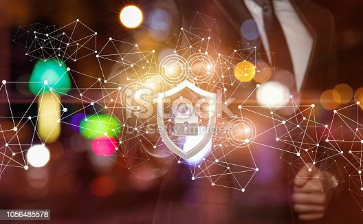 1068838170istockphoto The concept is the prevention of all cyber crimes and threats. 1056485578