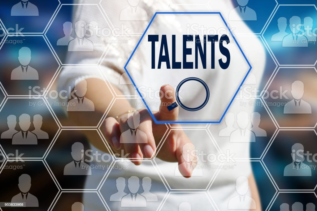 The concept is the search for talented personnel, HR . The businessman pulled the search for qualified specialists in the field of the newest technologies on the touch screen with a futuristic background. stock photo