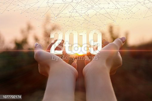 istock The concept is the symbol numbers of future year. 1077702174