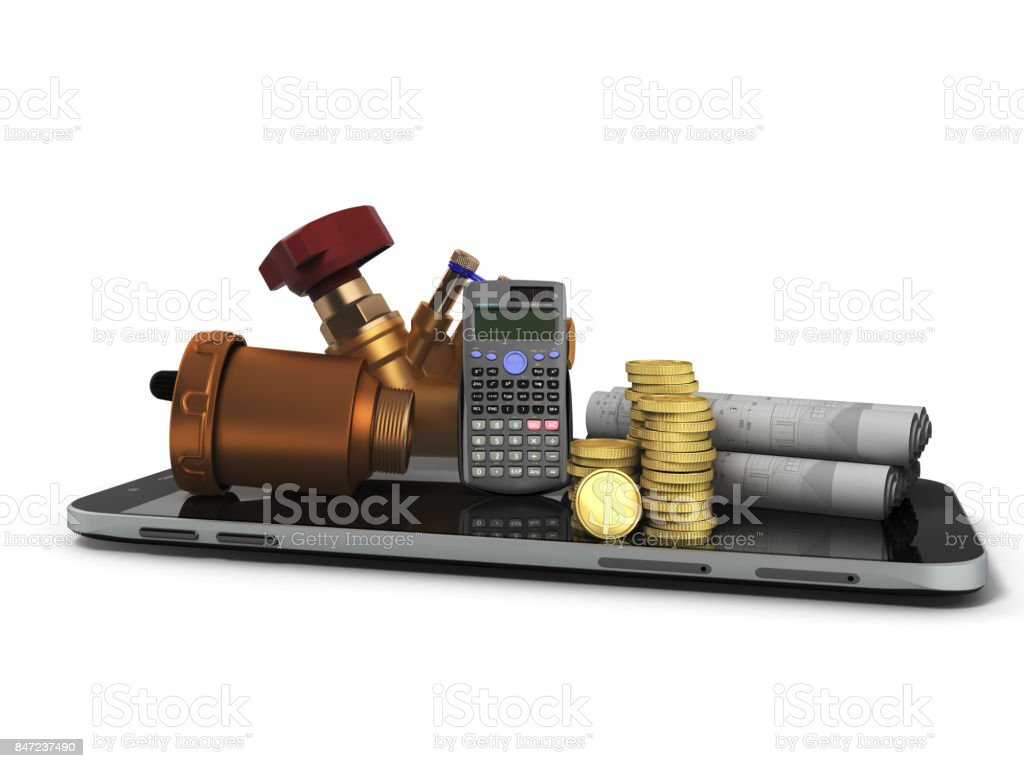 The concept of a ball valve air valve calculation of heating systems crane fittings money calculator 3d render not a gray background stock photo