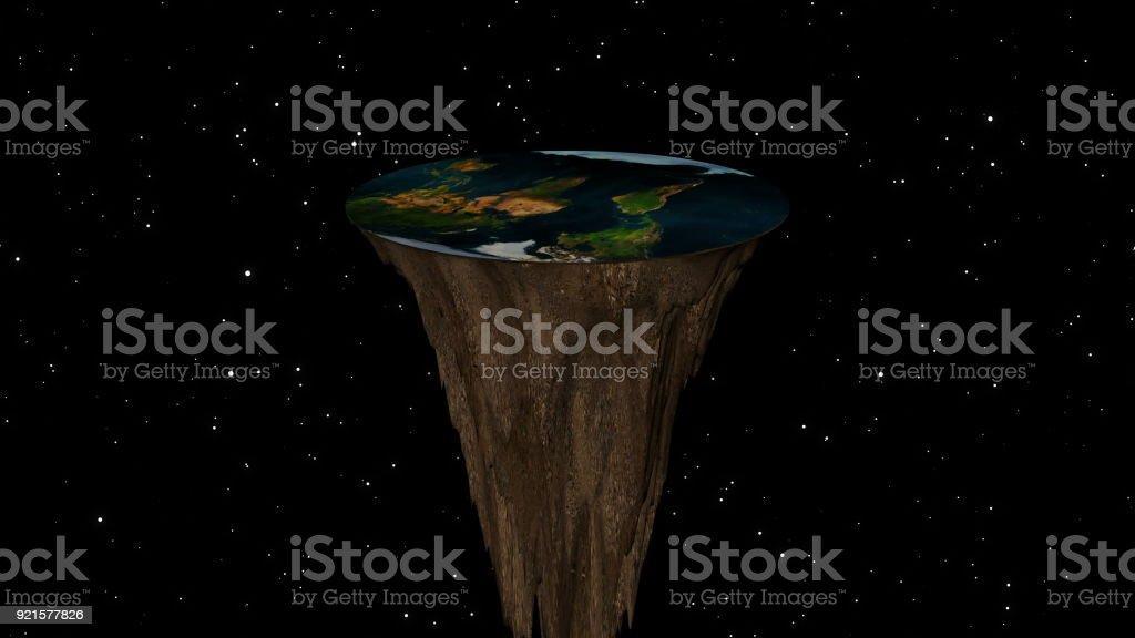 Das Konzept einer flachen Erde. 3D-Rendering – Foto