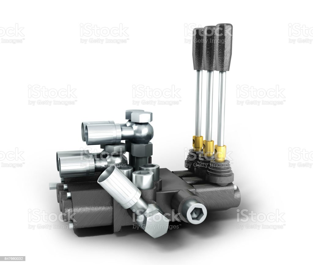 The concept of a hydraulic distributor on the right 3d render on a white background stock photo