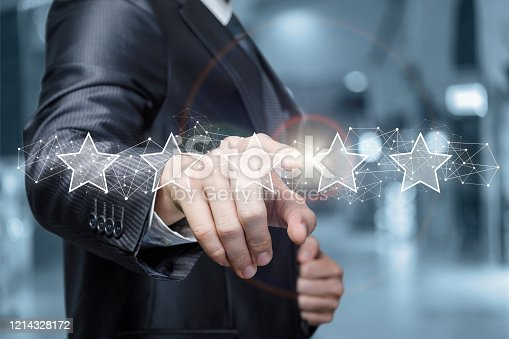 1128693163 istock photo The concept of a rating of five stars. 1214328172