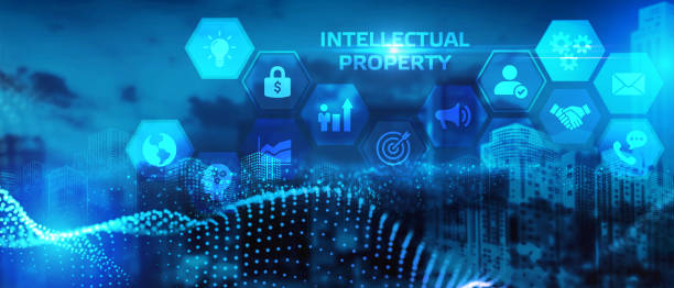 The concept of business, technology, the Internet and the network. A young entrepreneur working on a virtual screen of the future and sees the inscription: Intellectual property stock photo