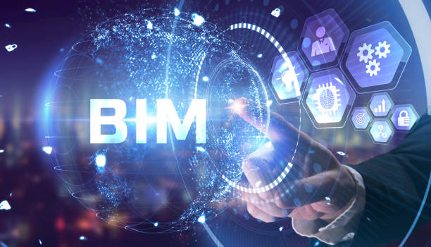 The concept of business, technology, the Internet and the network. A young entrepreneur working on a virtual screen of the future and sees the inscription: BIM stock photo