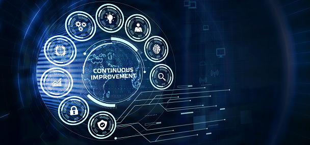 The concept of business, technology, the Internet and the network.  virtual screen of the future and sees the inscription: Continuous improvement