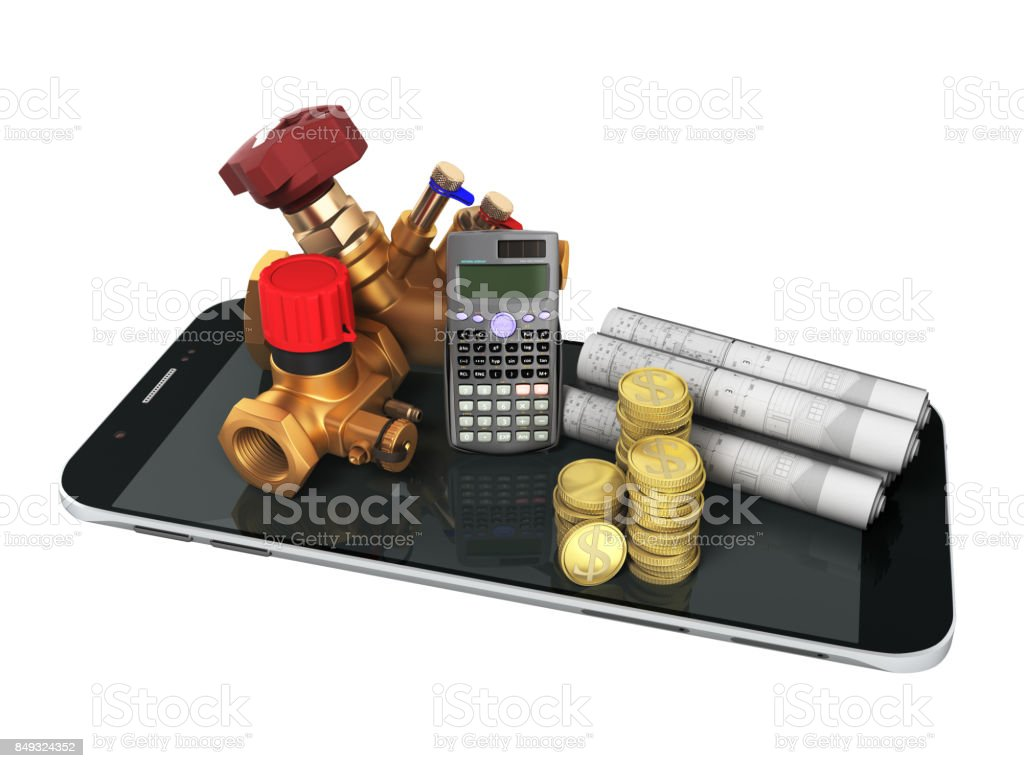 The concept of calculating heating cocks for heating systems 3d rendering on a blue background stock photo