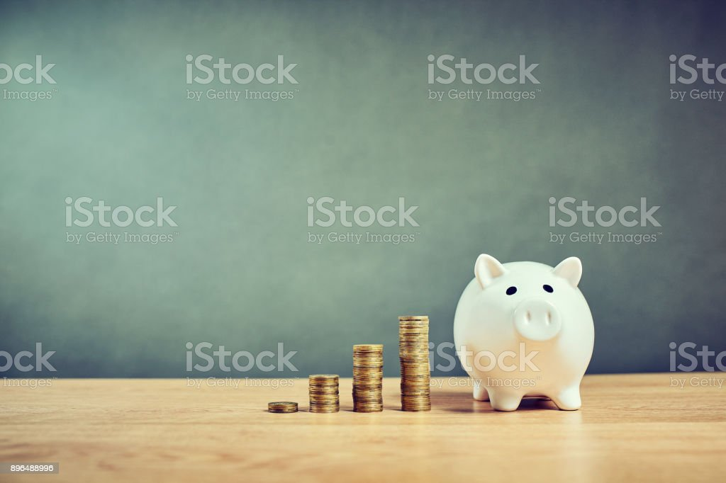 The concept of collecting money, the accumulation of capital stock photo