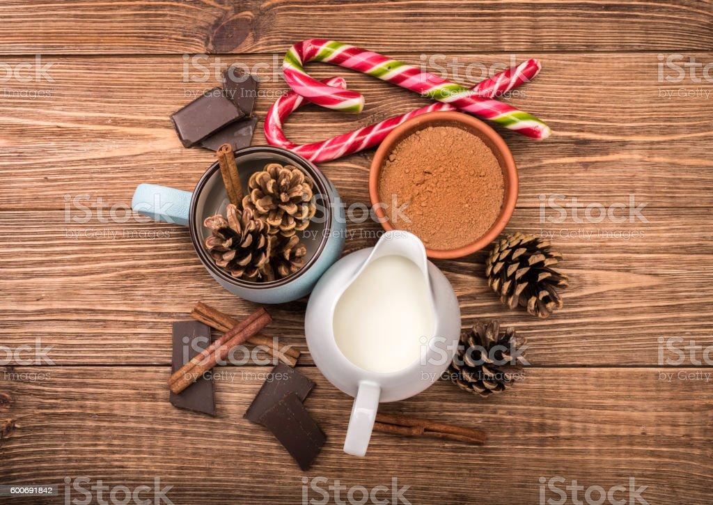 The concept of cooking Christmas hot chocolate . stock photo
