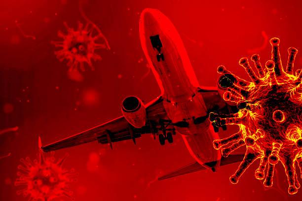 the concept of coronavirus quarantine, a new virus - covid-19,  cancellation of all flights - covid flight imagens e fotografias de stock