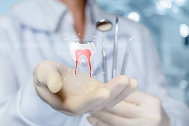 The concept of dental treatment. stock photo