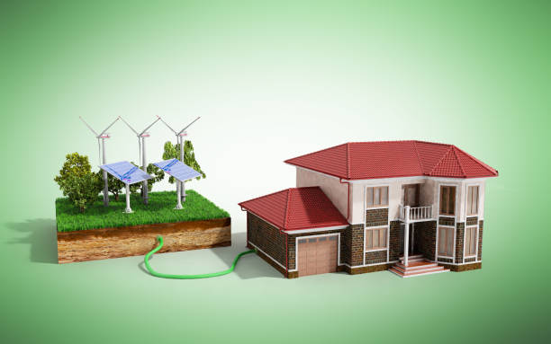 The concept of ecologically clean energy The house is connected to solar panels  3d render on green stock photo