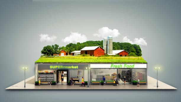 o conceito de alimentos ecologicamente puro showcases supermercados supermercado com uma fazenda na renderização 3d de telhado em branco - facade shop 3d - fotografias e filmes do acervo