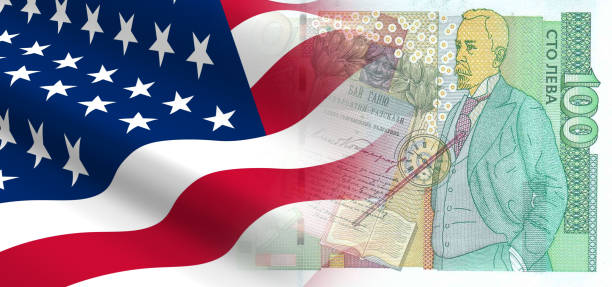 The concept of economic and political relationships the United States with Bulgaria. stock photo