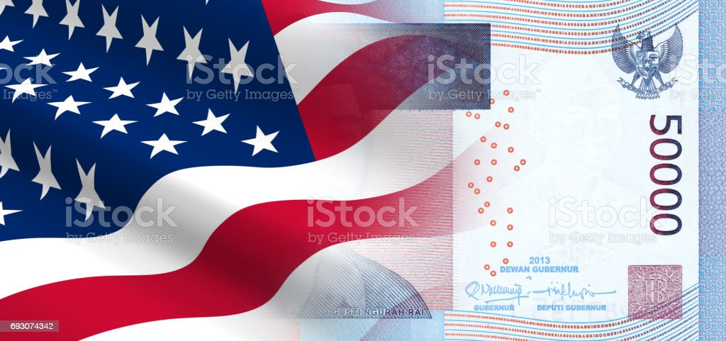 The concept of economic and political relationships the United States with Indonesia. stock photo