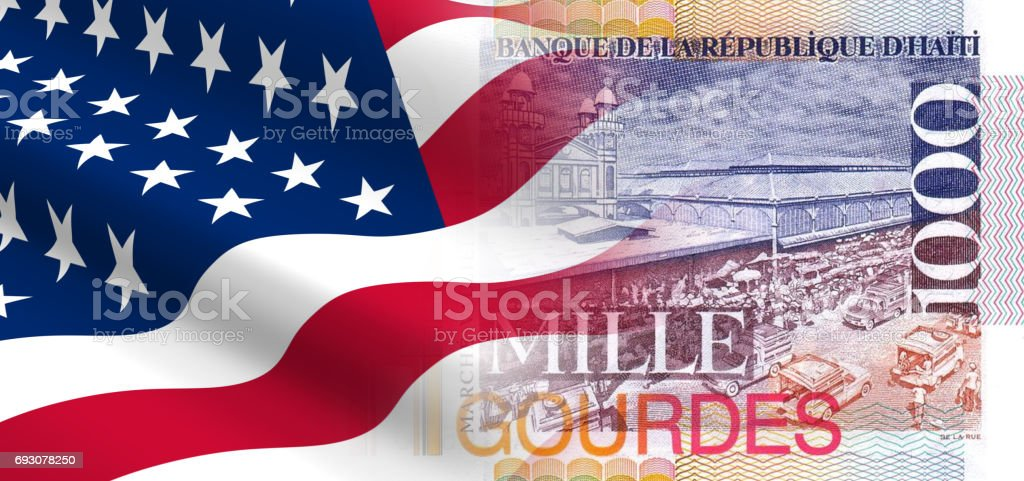 The concept of economic and political relationships the United States with Haiti. stock photo
