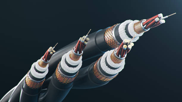 The concept of fiber optic cable on a colored background. Future cable technology. Detailed curved cable in cross section. Powerful communication technology. Network concept, 3d illustration The concept of fiber optic cable on a colored background. Future cable technology. Detailed curved cable in cross section. Powerful communication technology. Network concept. 3d illustration cable stock pictures, royalty-free photos & images