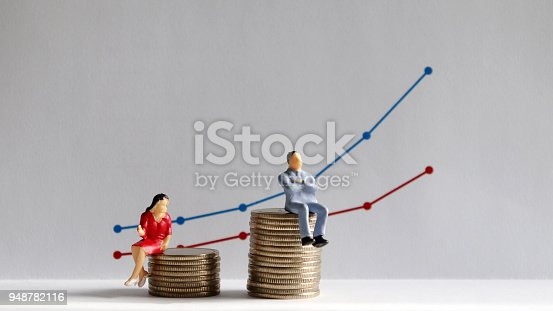 The concept of gender pay gap. A miniature man and a miniature woman sitting on top of a pile of coins at different heights in front of a bar graph.
