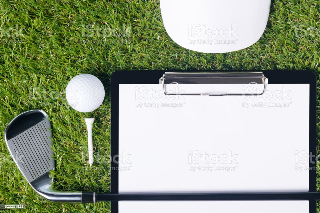 The concept of golf equipment from and tablets for the result of the...