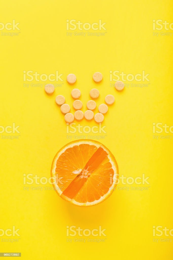 The concept of healthy eating, supplement. Vitamin C is the main vitamin, the king among vitamins. Fitness, flat lay zbiór zdjęć royalty-free