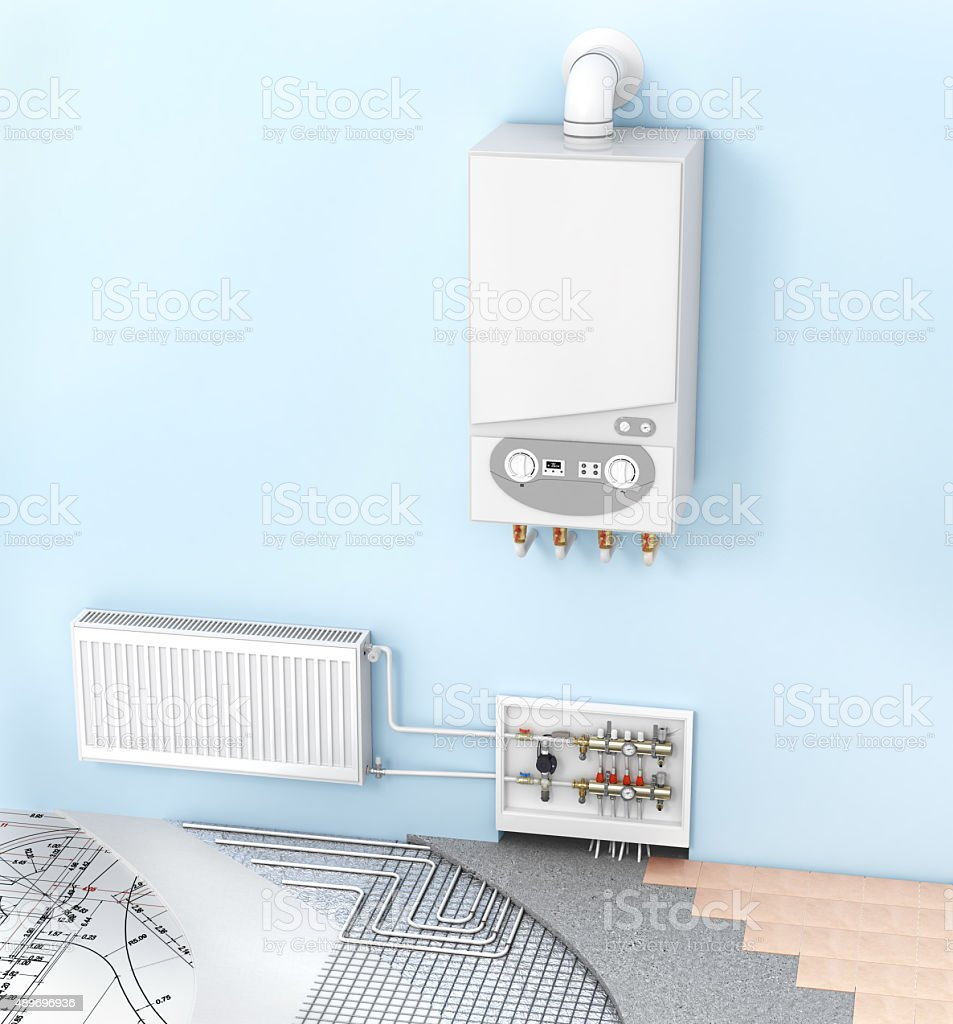 The concept of heating with radiators and a boiler . Underfloor heating stock photo