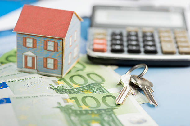 The concept of home ownership and Euro - foto de stock